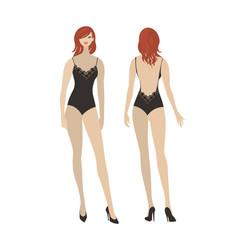 Lady in black lace bodysuit vector