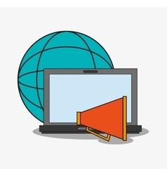 Laptop and digital marketing design vector