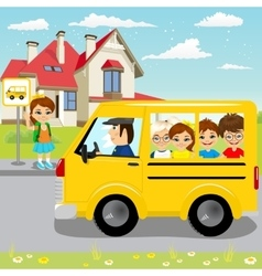 Little girl waiting for schoolbus on bus stop vector