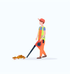 male street cleaner holding leaves blower man in vector image