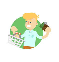 man with shopping basket and money icon vector image
