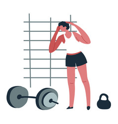 man working out in gym male character training vector image