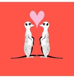 Meerkats in love vector