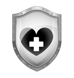Metallic shield with heart and cross vector