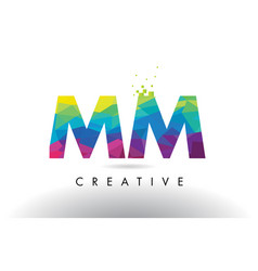 Mm m m colorful letter origami triangles design vector