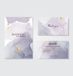 modern wedding invitation alcohol ink design set vector image