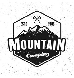 mountains camping badge isolated on white vector image