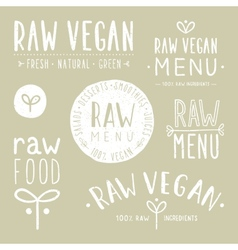Old textured raw vegan badges vector image