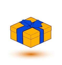 Orange gift box present with blue bow and ribbon vector