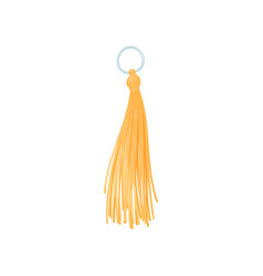 Orange tassel on a metal ring vector
