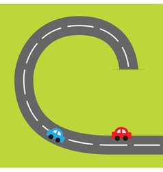 Paper grasss and road cartoon cars vector