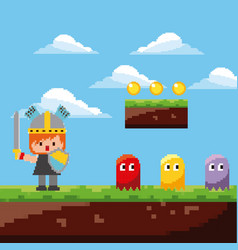 pixel game scene knight ghosts coins landscape vector image