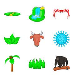 Prey icons set cartoon style vector