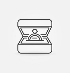 ring in box line icon wedding ring in box vector image