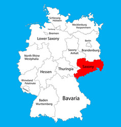 sachsen map saxony state germany province vector image