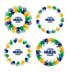 Set hand print icons using brazil flag colors vector