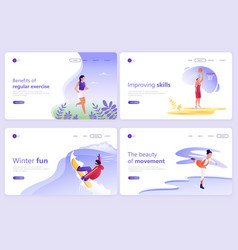 set landing page templates people doing sports vector image