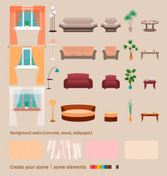 Set of domestic living room elements and vector