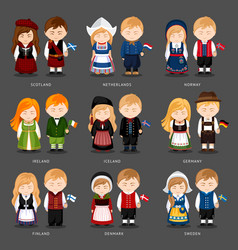 set of european pairs dressed in different vector image
