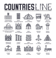 set sightseeing attractions different vector image