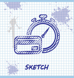 Sketch line fast payments icon isolated on white vector