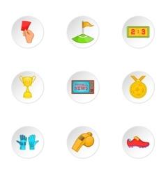 Soccer icons set cartoon style vector