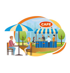 street bar or fast food cafe in city park vector image
