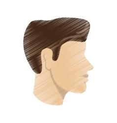 Striped man head profile design vector