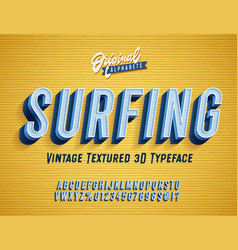 Surfing vintage original 3d alphabet vector
