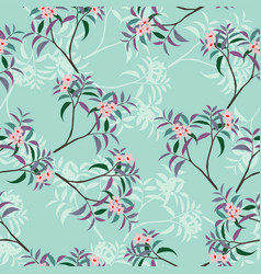 sweet pink floral seamless pattern with leaves vector image