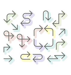 thin arrows set - navigational simple line arrows vector image