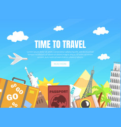 Time to travel landing page template travel vector