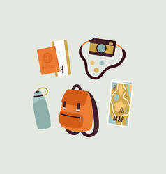 Travel stuff hand drawn objects tourism concept vector