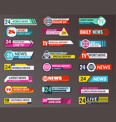 Tv title broadcasting banner graphic interfaces vector