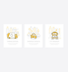 urban transport - line design style banners set vector image