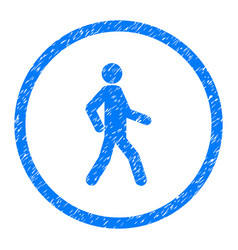Walking person rounded grainy icon vector