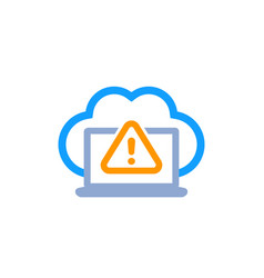 warning icon with cloud on white vector image