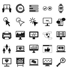 Webinar icons set simple style vector