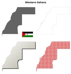 Western Sahara outline map set vector image