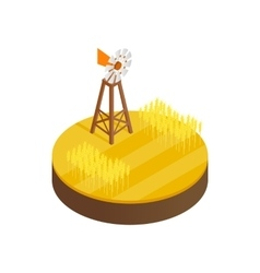 Wind generator and solar panels desert icon vector image
