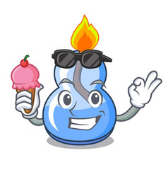 With ice cream alcohol burner character cartoon vector