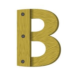 Wood letter b vector