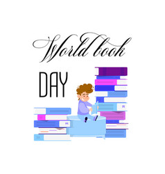 World book day holiday poster - flat design vector