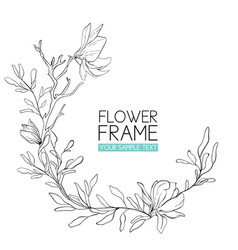 wreath magnolia flower drawing and sketch with vector image