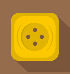 Yellow square sewing button icon flat style vector