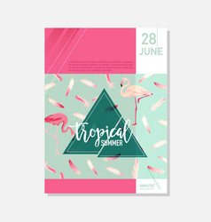 brochure template flamingo birds summer graphic vector image