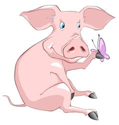 cartoon character pig vector image vector image