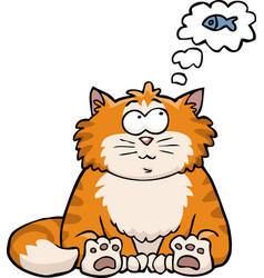 cat thinks about the fish vector image vector image