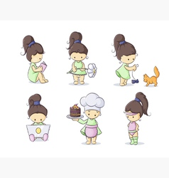 color set of cute little girls vector image vector image
