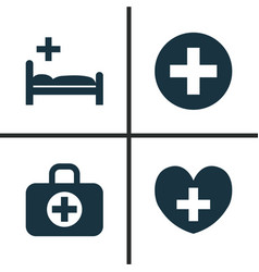 Drug icons set collection of plus heal surgical vector